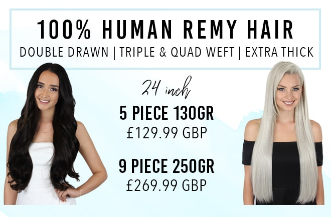 24 inch Clip in hair extensions made from 100% human hair